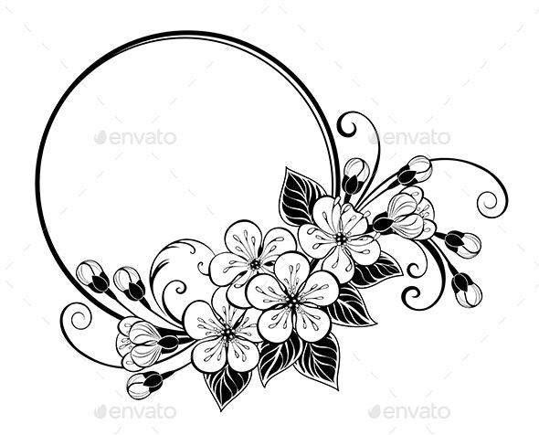 Round frame with contour sakura flowers - Borders Decorative