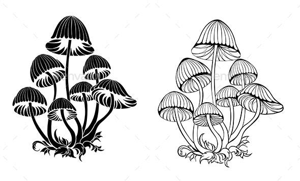 Silhouette Hallucinogenic Mushrooms - Flowers & Plants Nature
