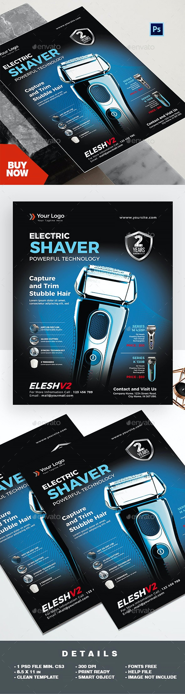 Product Flyer - Electric Shaver - Commerce Flyers