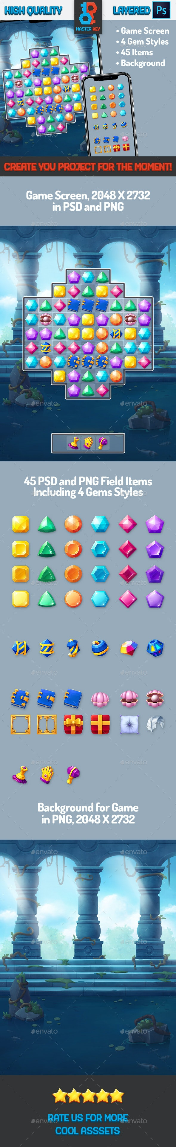Mini Gems Match Game - Game Kits Game Assets
