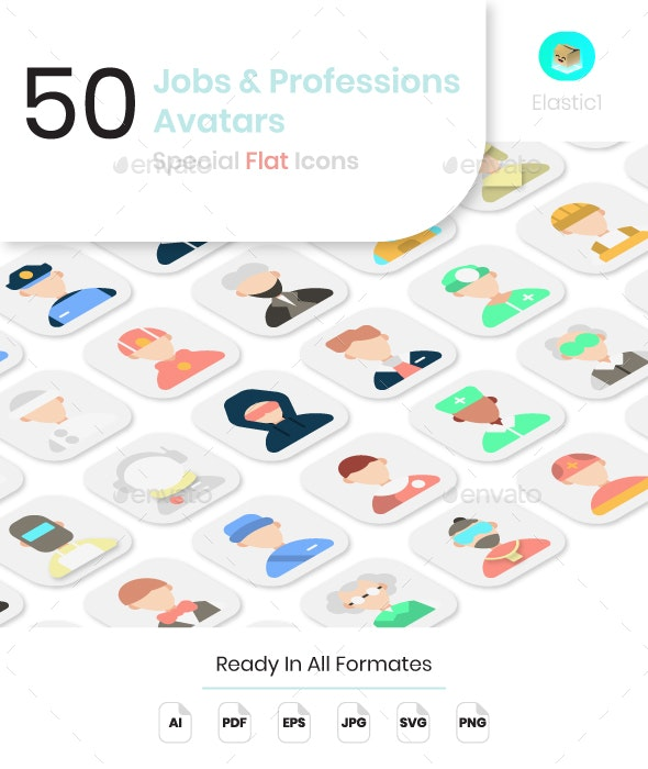 Job and Profession Avatar Flat Icons - People Characters