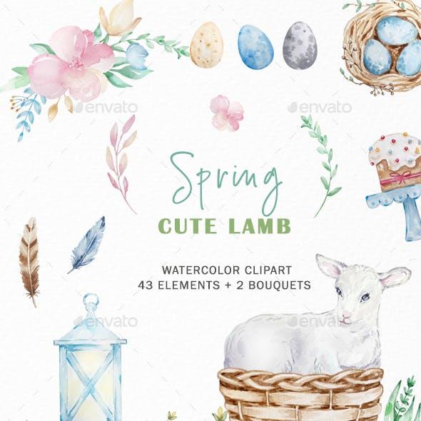 Watercolor Easter Lamb Clipart