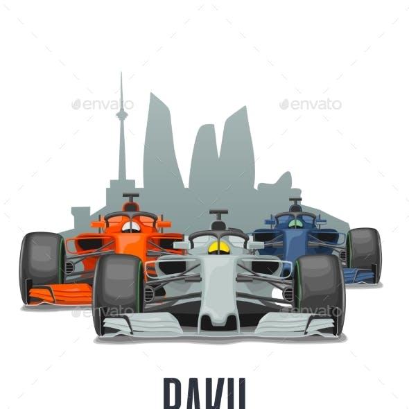 Cityline Baku and Three Racing Cars on Grand Prix
