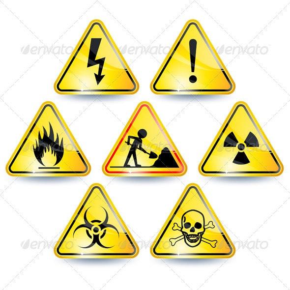 Set of warning signs - Web Elements Vectors