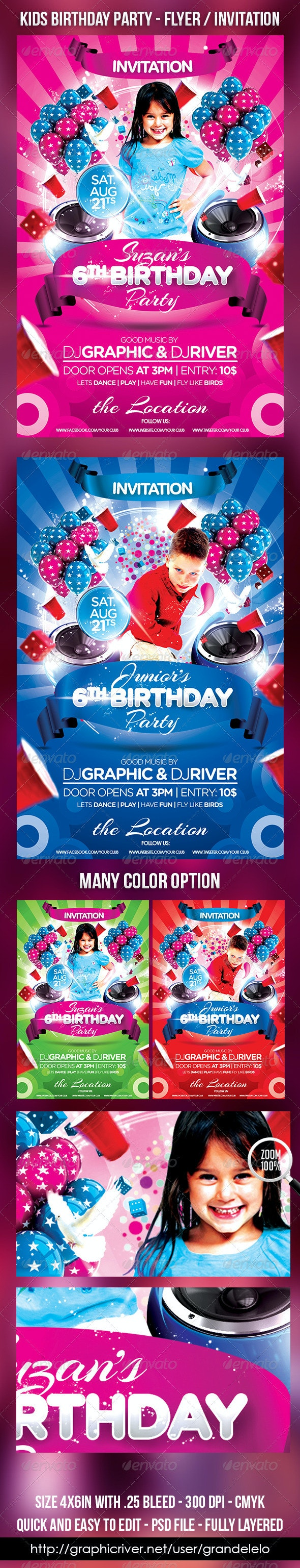 Kids Birthday Cake Flyer Invitation - Clubs & Parties Events