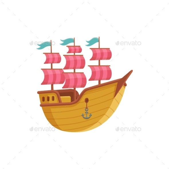 Vintage Sailing Ship Cartoon Icon Flat Vector - Man-made Objects Objects