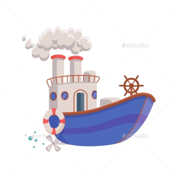 Cartoon Funny Blue Boat Kids Toy a Vector - Man-made Objects Objects