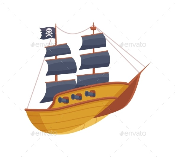 Vector Isolated Illustration of Cartoon Pirate - Man-made Objects Objects