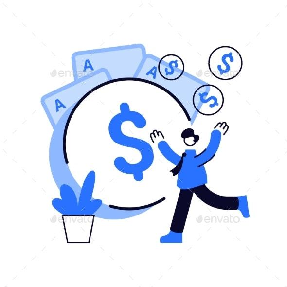 Gambling Income Abstract Concept Vector - Abstract Conceptual