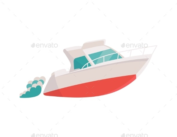 Small Toy Sea Boat Floating on Waves Flat Vector - Man-made Objects Objects