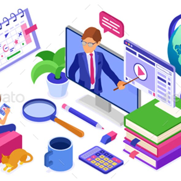 Online study Distance education technology from home banner