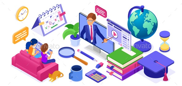 Online study Distance education technology from home banner - Web Technology