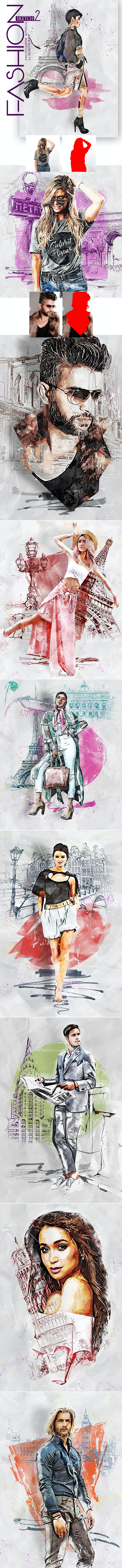 Fashion Sketch 2 Photoshop Action - Photo Effects Actions