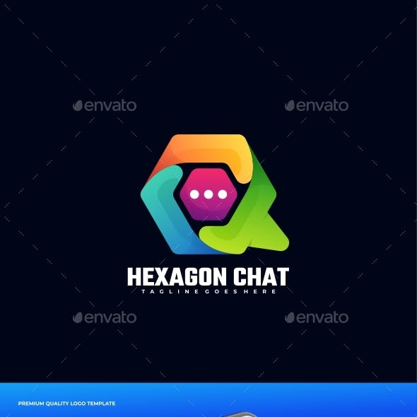 Hexagon Chat Gradient Colorful Logo Template