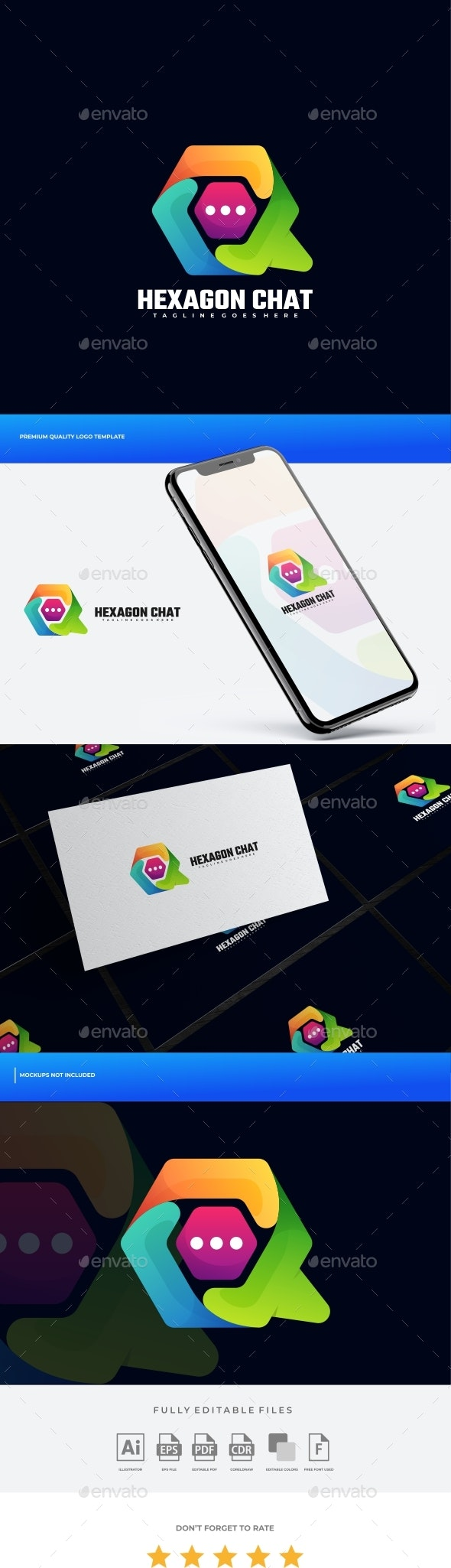 Hexagon Chat Gradient Colorful Logo Template - Objects Logo Templates