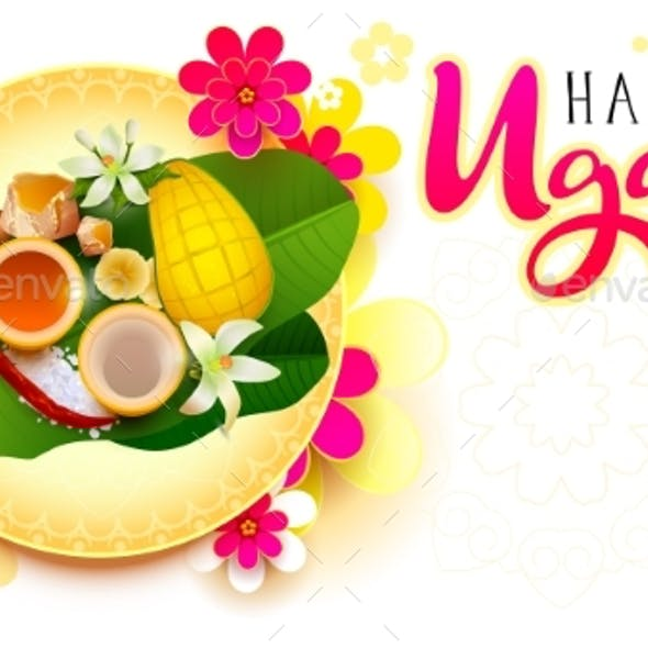 Happy Ugadi Indian Holiday Text Lettering Greeting