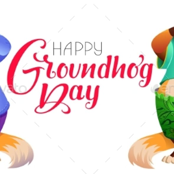 Happy Groundhog Day Greeting Text Postcard
