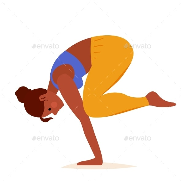 Crow Pose Yoga on White Background - Sports/Activity Conceptual