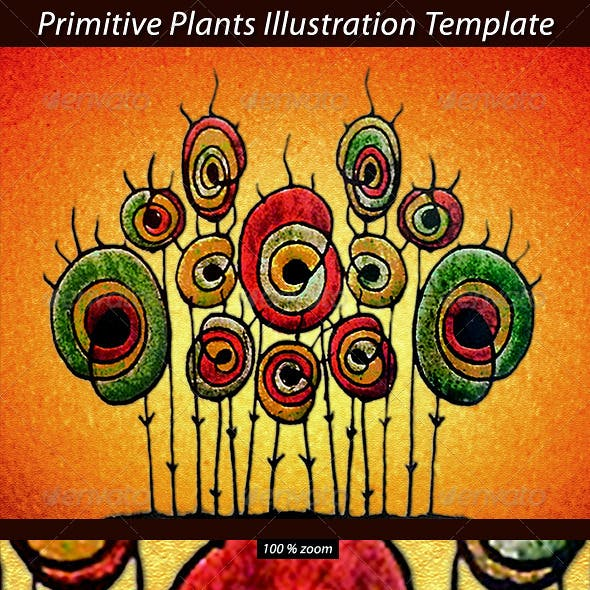 Primitive Plant Illustration Template