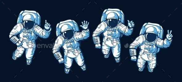 Astronaut Ok Hello Victory Signs - Miscellaneous Vectors