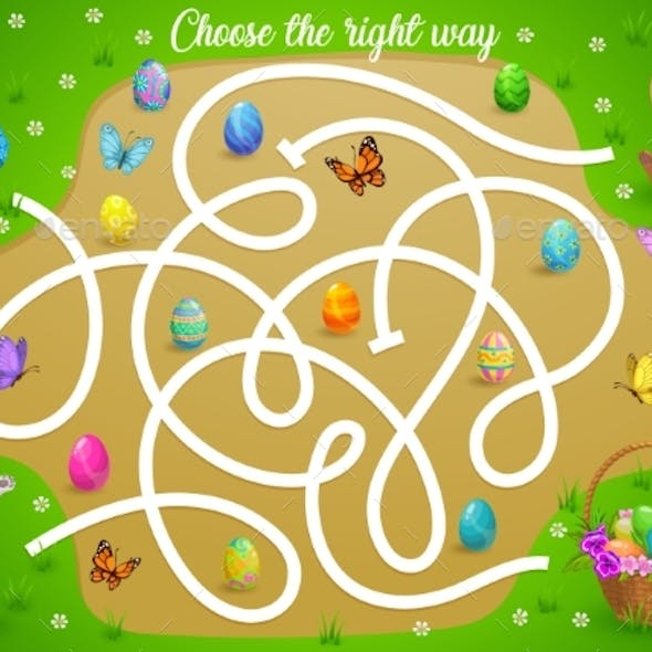 Kids Maze Game Help Easter Bunny Choose Right Way