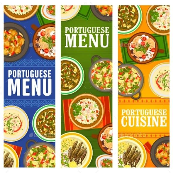 Portuguese Cuisine Restaurant Menu Dishes Banners