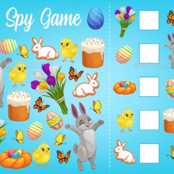 I Spy Kids Game with Easter Characters Worksheet