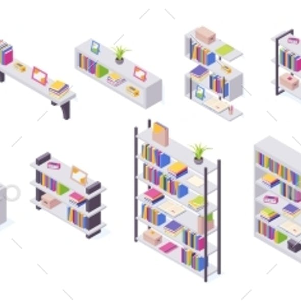 Books on Shelf in Isometric Vector Illustration
