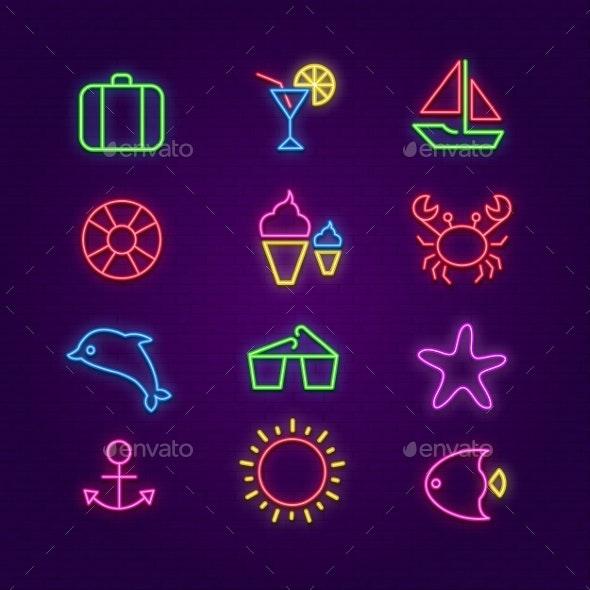 Summer Icons - Web Elements Vectors