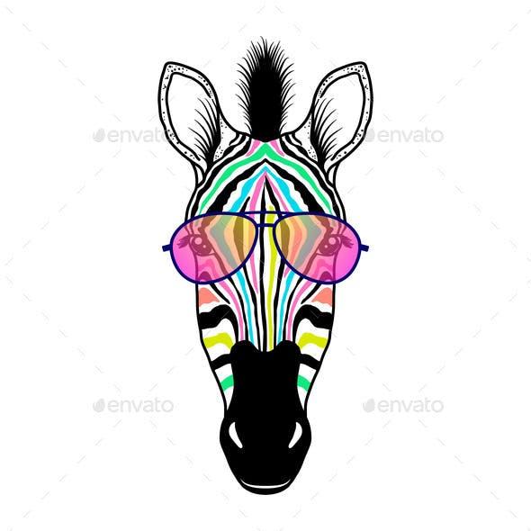 Zebra Head with Sunglasses