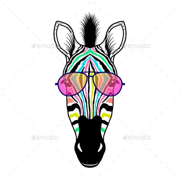 Zebra Head with Sunglasses - Animals Characters
