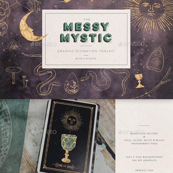 Mystic Digital Graphics Design Set - Astrology, Tarot, Witchcraft, Magic Icons, Textures & Vectors