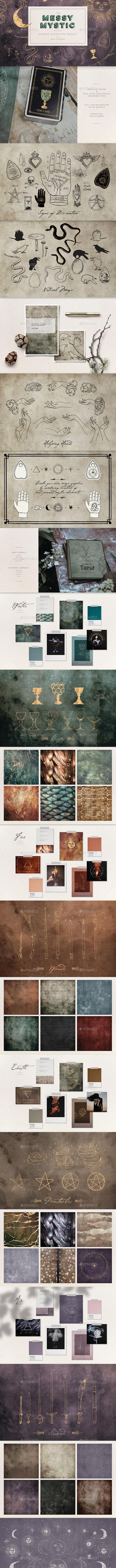 Mystic Digital Graphics Design Set - Astrology, Tarot, Witchcraft, Magic Icons, Textures & Vectors - Objects Illustrations