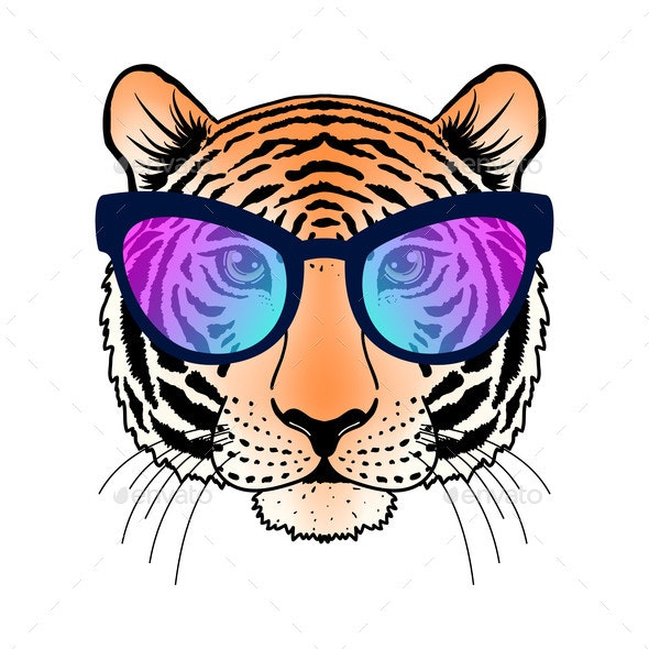 Tiger with Sunglasses - Animals Characters