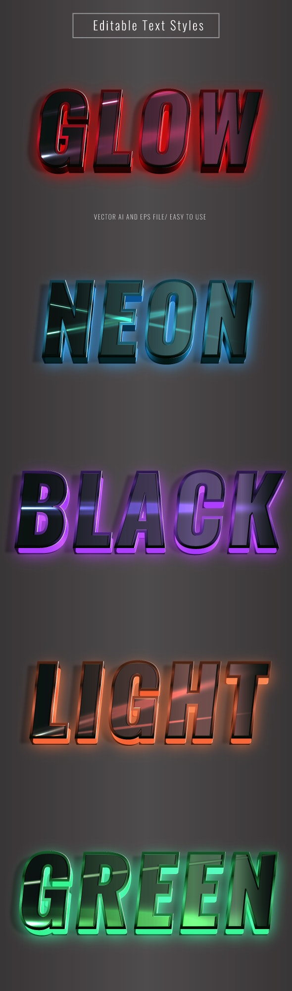 Neon Glow 3D Text Effect for Illustrator - Illustrator Add-ons
