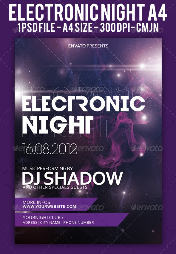 Electronic Night Flyer A4 - Events Flyers