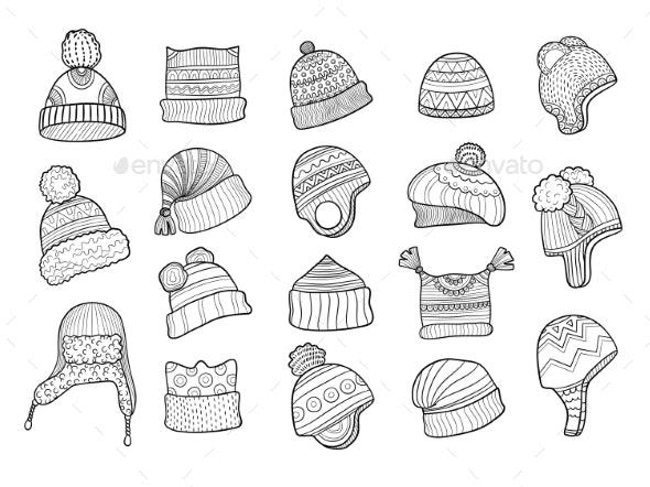 Winter Doodle Hat - Objects Vectors