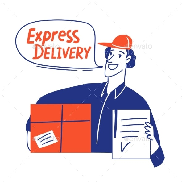Delivery Business Doodle Style Cards Design - Miscellaneous Vectors