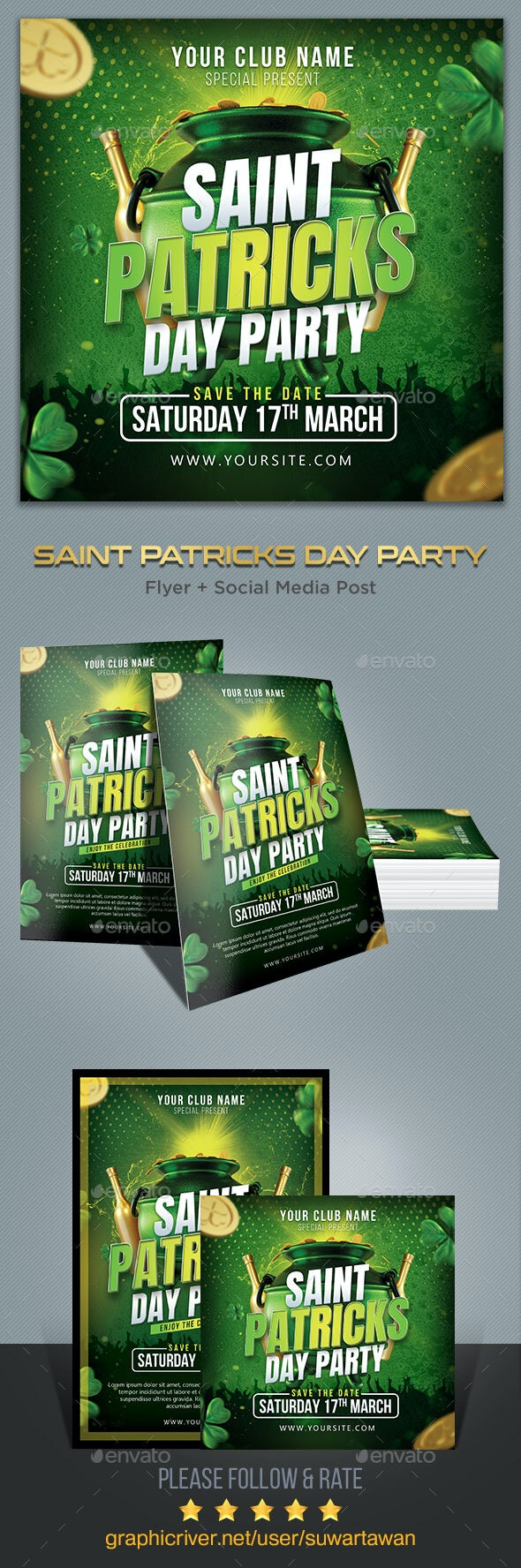 St. Patrick Party Flyer Template - Print Templates