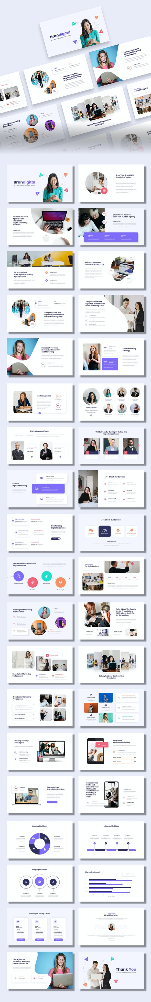 Brandigital - SEO & Digital Marketing Agency Google Slides Template - Google Slides Presentation Templates