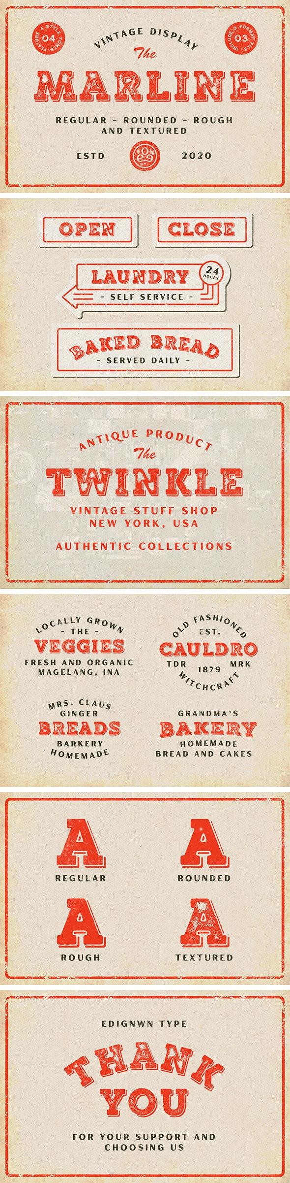 Marline - Vintage Texture Font - Grunge Decorative