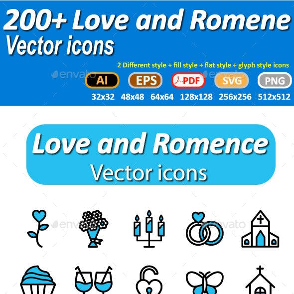 Love and Romance Vector icons pack
