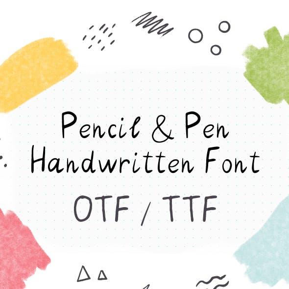 Pencil & Pen Handwritten Font. Kids Font. Sketch Font. Calligraphy font
