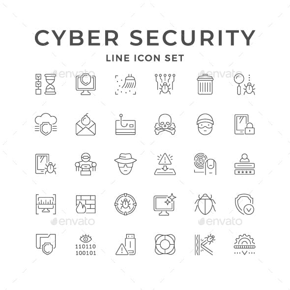 Set Line Icons of Cyber Security