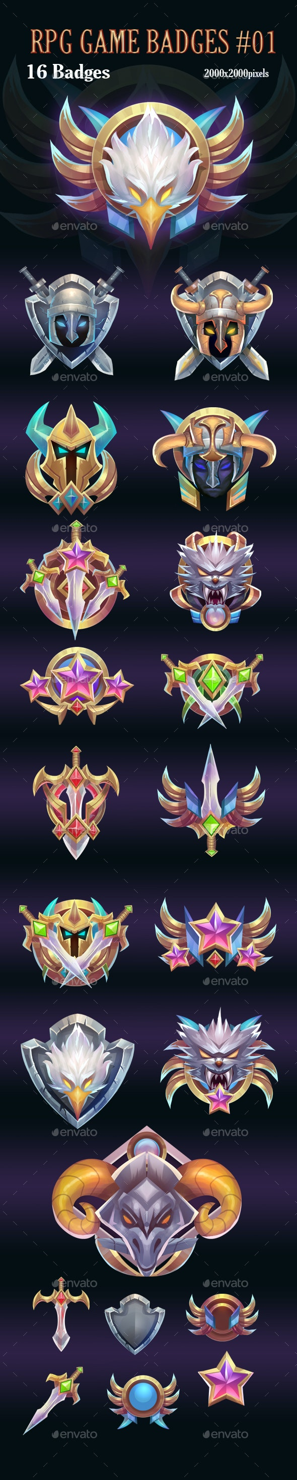 RPG Game Badges Pack 01 - Miscellaneous Game Assets
