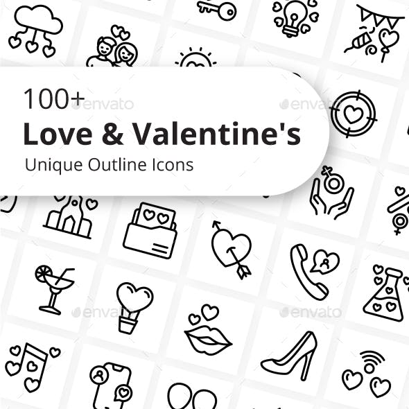 Love and Valentine Unique Outline Icons