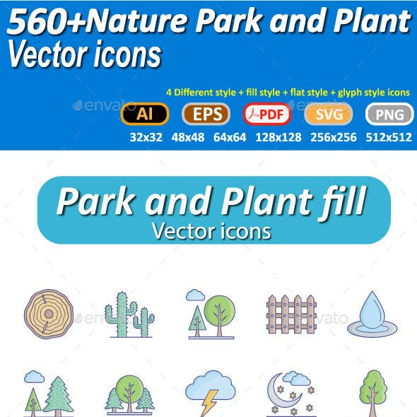 Nature plant and park icons