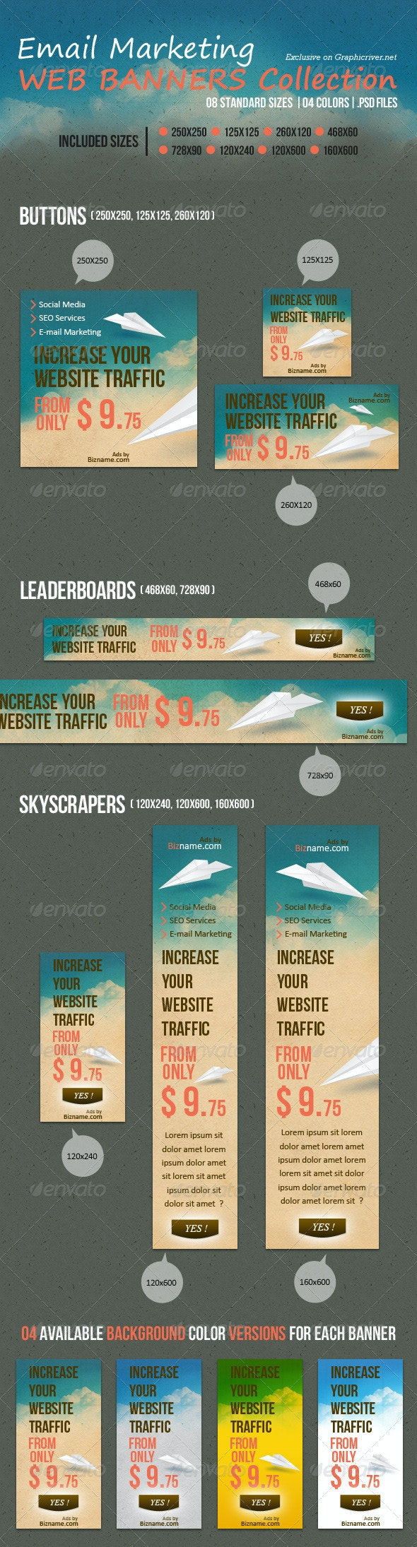 Email Marketing Web Banners Collection - Banners & Ads Web Elements