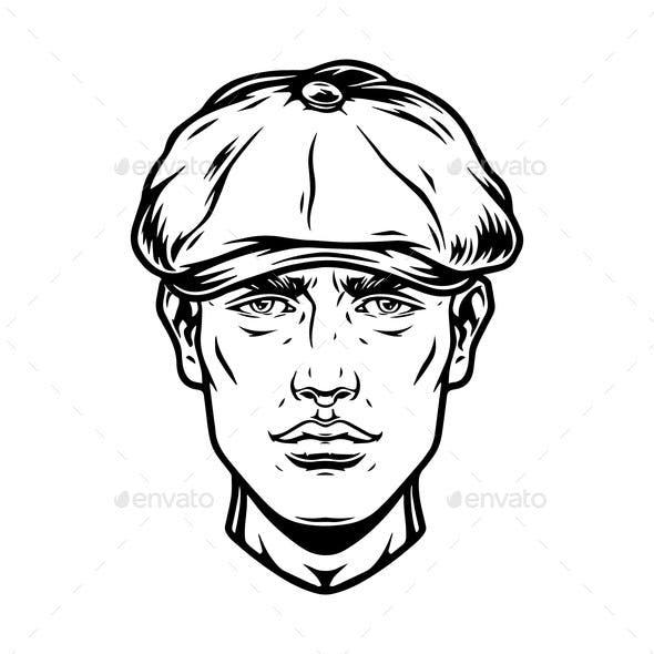 Male Head Wearing Irish Cap