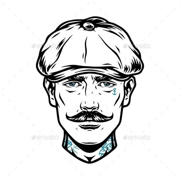 Stylish Male Head in Irish Cap